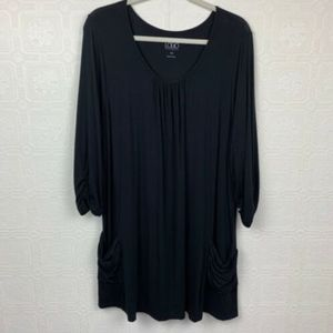 LOGO 1X Tunic Top Black Pockets 3/4 Sleeve A220